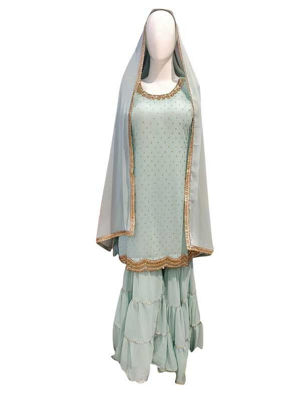 Light Green Color Sharara Suit with Pure Dupatta for Women