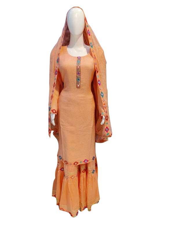 Orange Color Sharara Suit Set With Chiffon Dupatta for Women