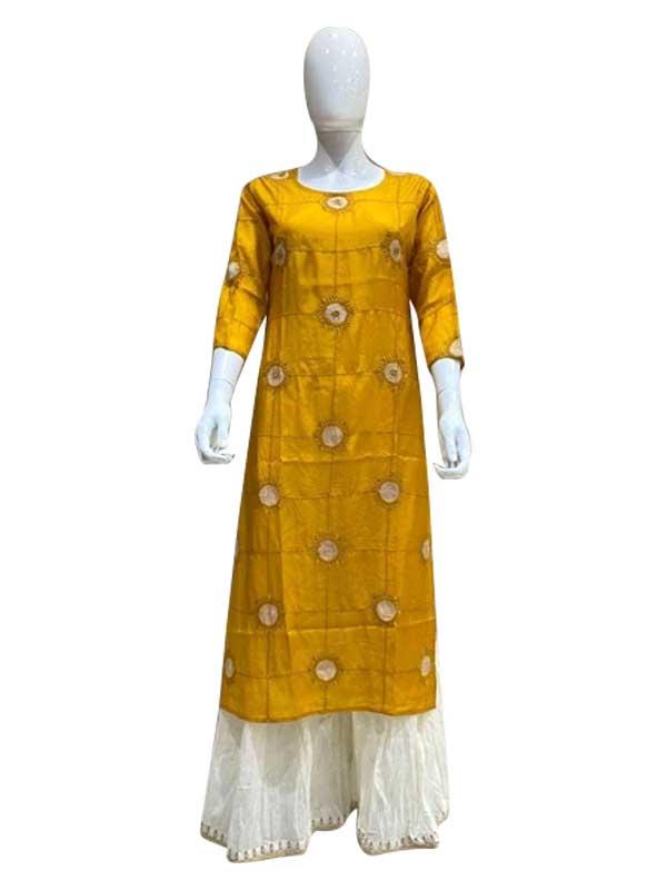 Beautiful Yellow Color Cotton Kurti with Plazzo Set