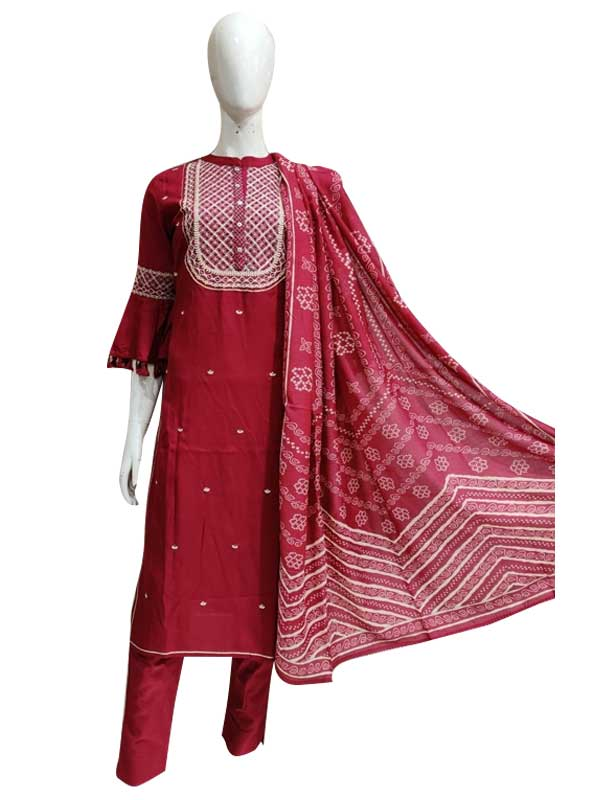 Pink Color Reyon Kurti with heavy neck thread work