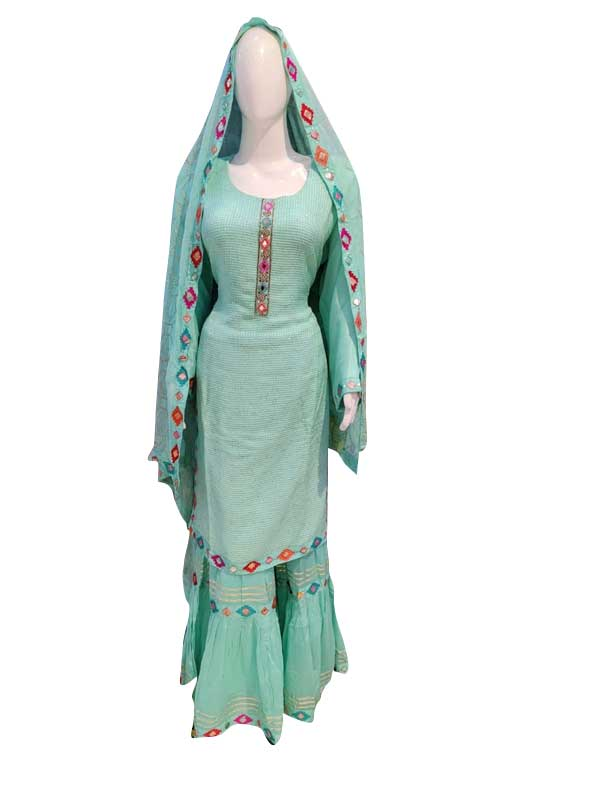 Summer Green Color Sharara Suit set with Chiffon Dupatta for Women