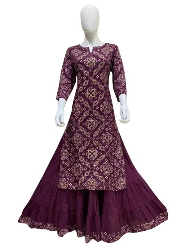 Wine Color cotton Print skirt kurti for women