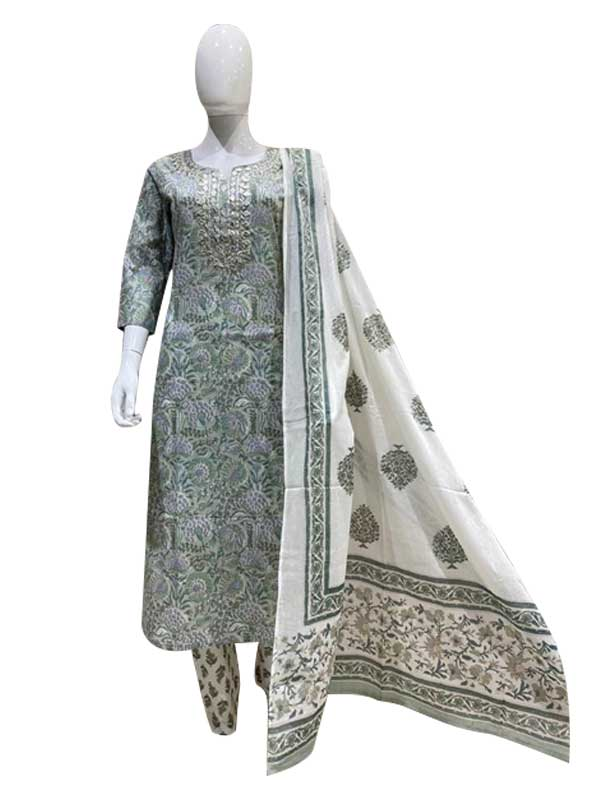 Sea-Green Color Cotton Kurti With Pant,Dupatta For Women