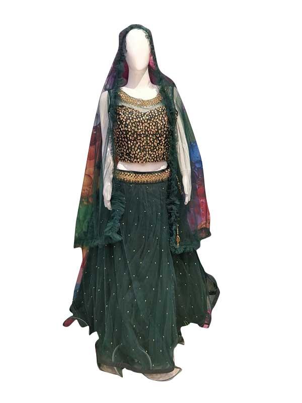 Stylish Green Color Net Fabric Dress Online - Arihant Fashion