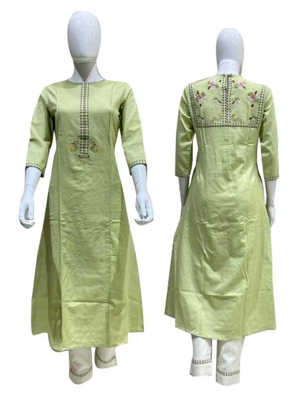 Light-Green Color Cotton Kurti With Cotton Pant.
