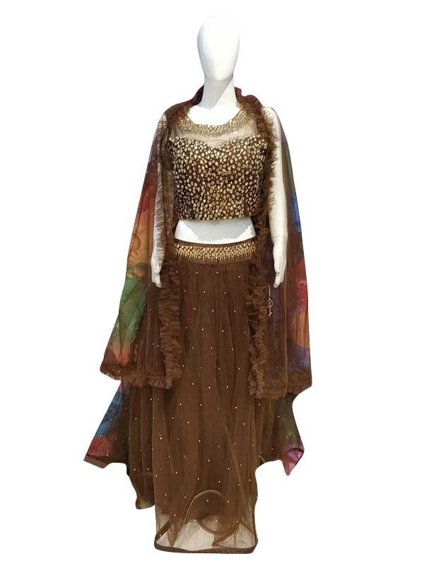 Stylish choclate Color Net Fabric Dress Online - Arihant Fashion