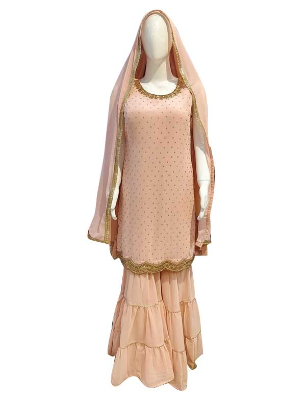 Skin Color Sharara Suit with Pure Dupatta for Women