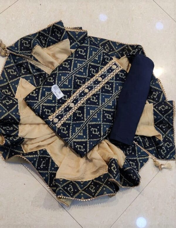 Blue color silk suit with chiffon Dupatta for woman