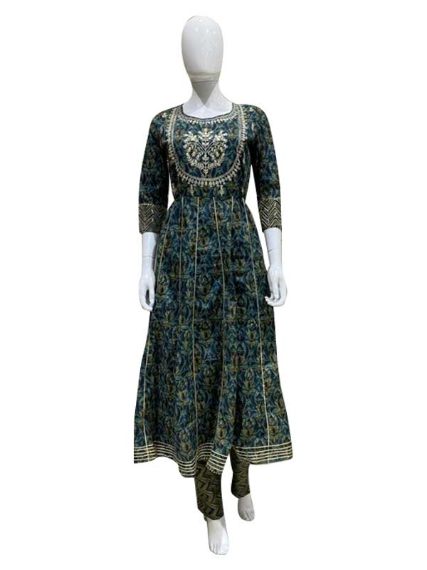 Green Color Cotton Anarkali Kurti With Pant For Women