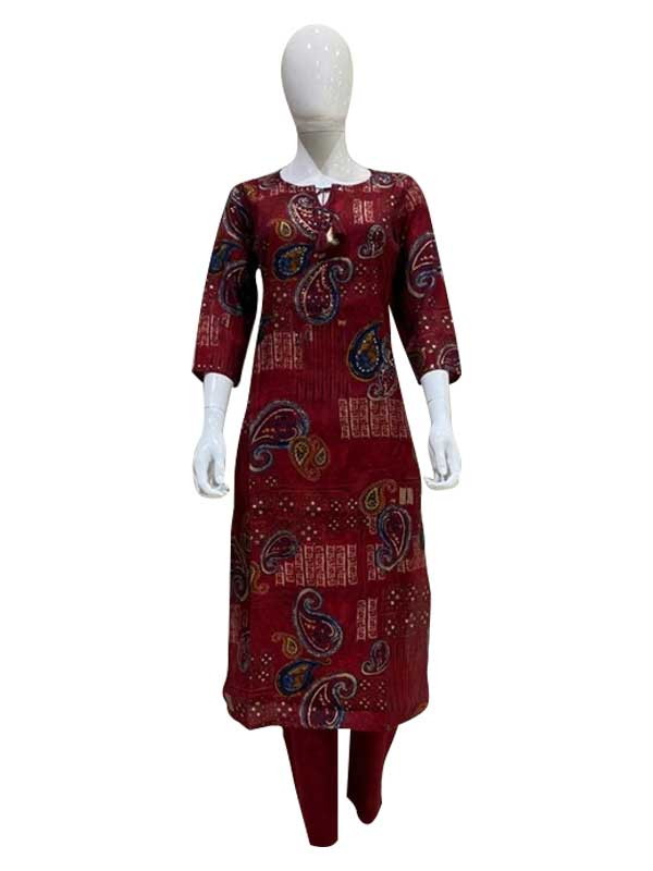 Mahroon Color Cotton Print Kurti with pant set for Women
