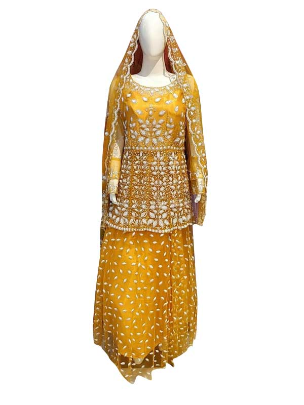 Stylish Yellow Color Net Fabric Dress Online - Arihant Fashion