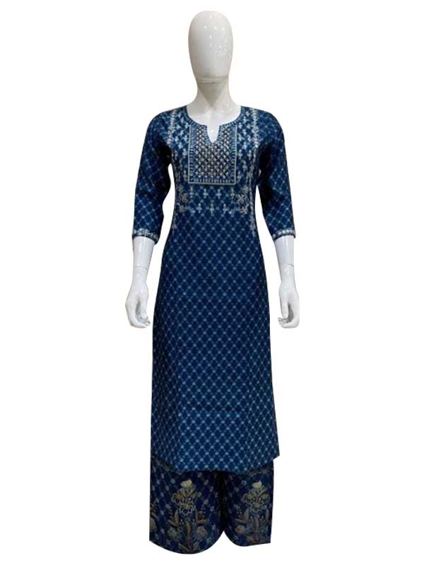 Blue Color Cotton Kurti with Plazzo set for Women