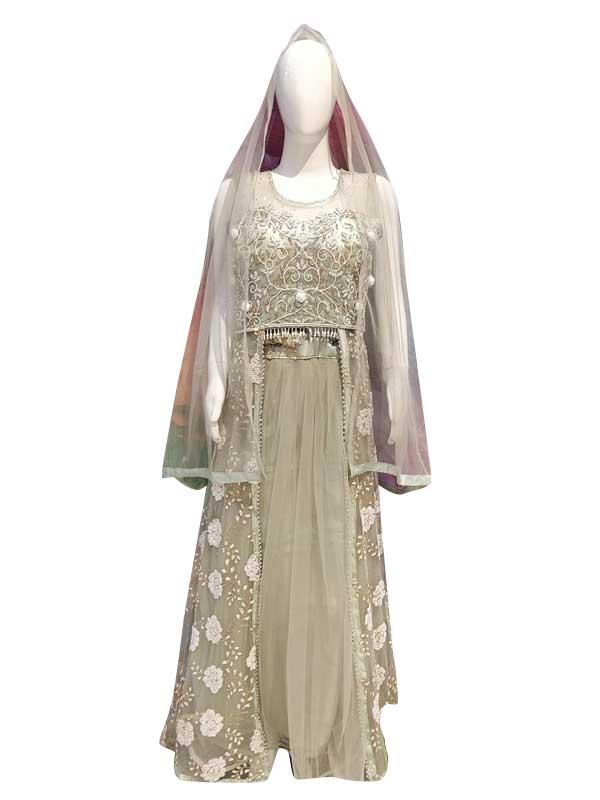 Stylish Grey Color Net Fabric Long Sharara Dress With Skirt Online - Arihant Fashion