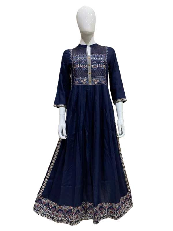 Blue Cotton Long Kurti With Thread Work For Women