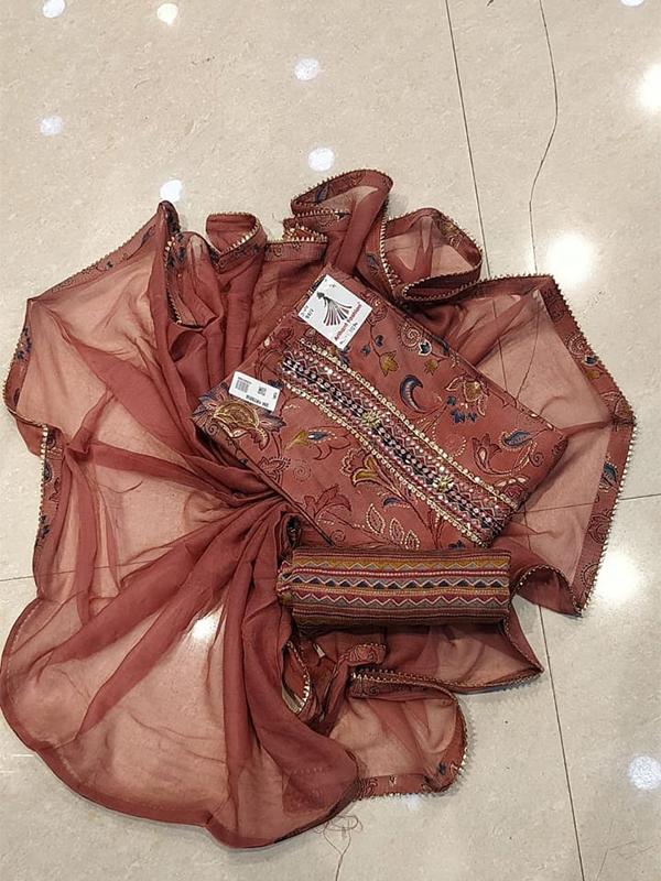 Brown Colour Silk Designer Digital Print Salwar Suit for Women