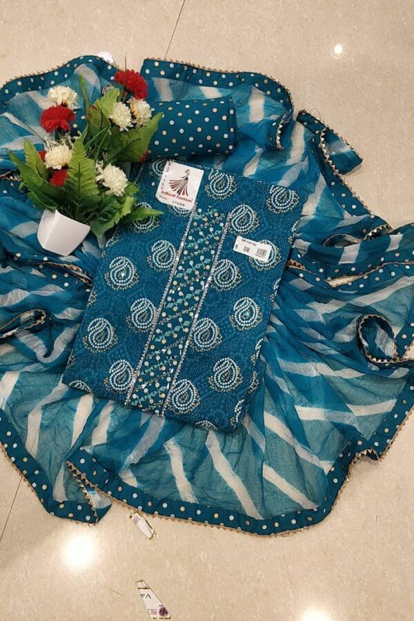 Bottle Blue Color Cotton Suit Set With Cotton Salwar and Chiffon Dupatta