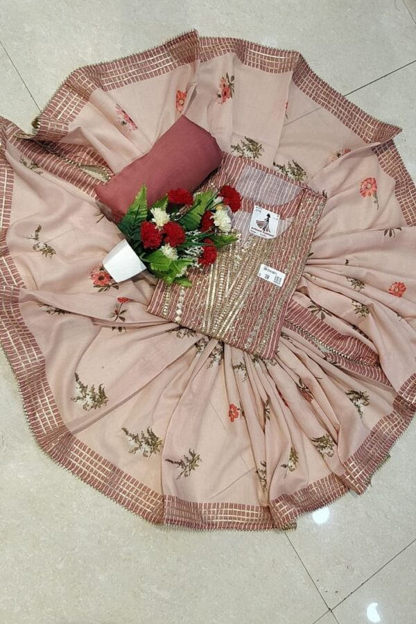 Metalic Pink Color Maslin Fabric Suit With maslin Dupatta