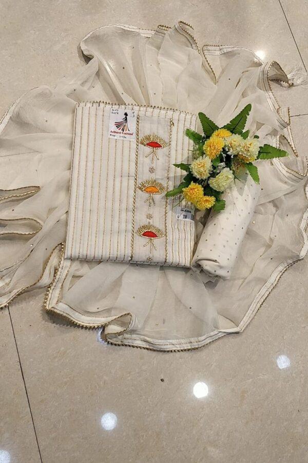 Cream Color Cotton Suit with Print Work Online - Arihant Fashion