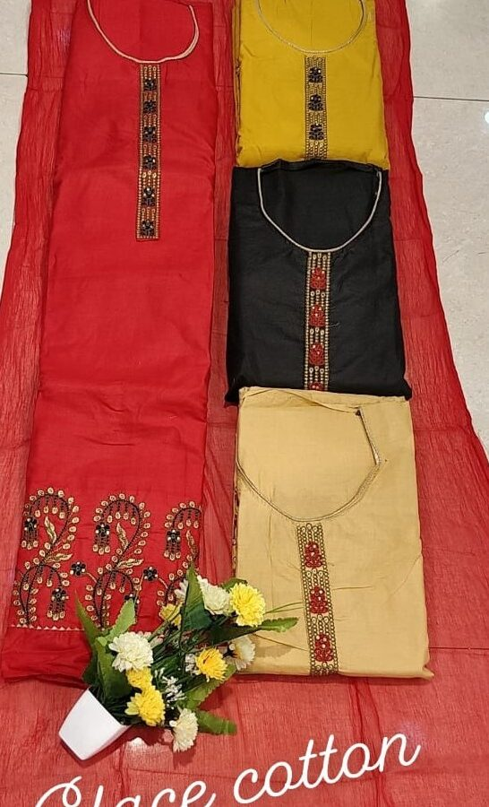Designer Glace Cotton with Gotta Patti Work Salwar Suit Material