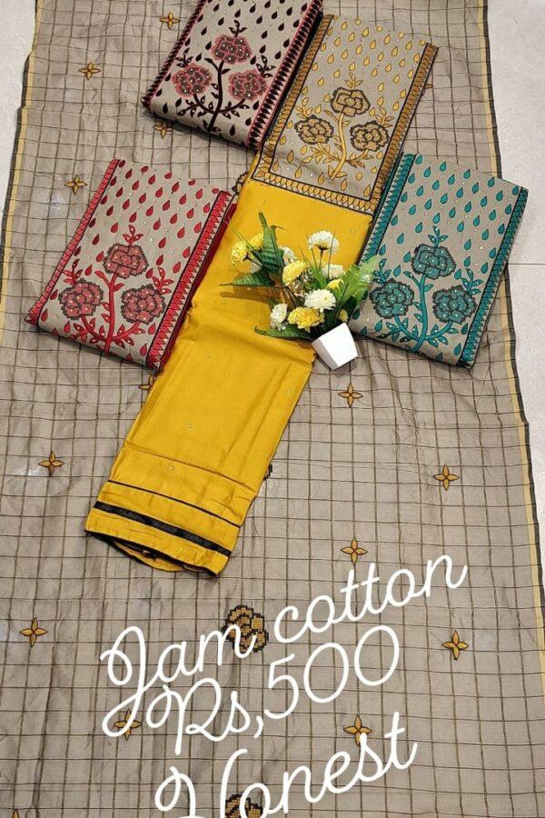 Designer jam cotton suit material with Thread work and Cotton Dupatta