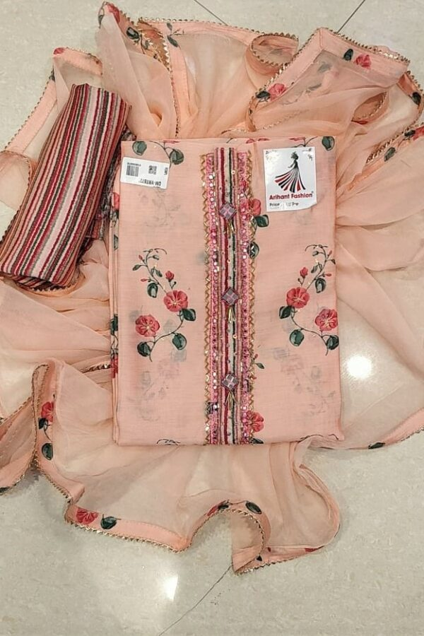 Light Pink color Silk suit with Opada Bottam and Chiffon Duppata