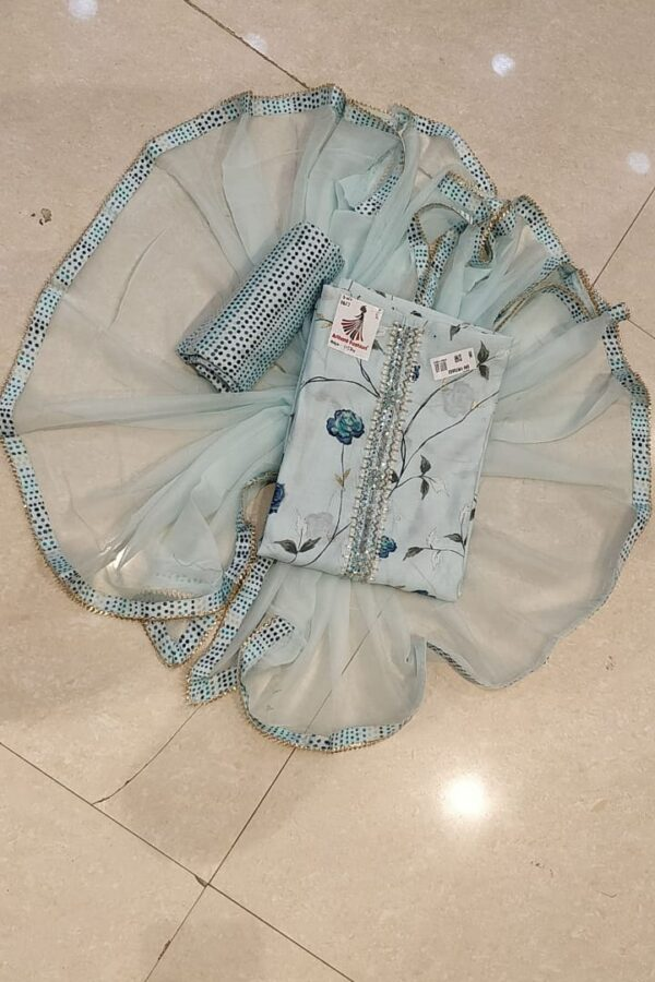 Baby Blue color cotton suit with Opada salwar and Chiffon Dupatta