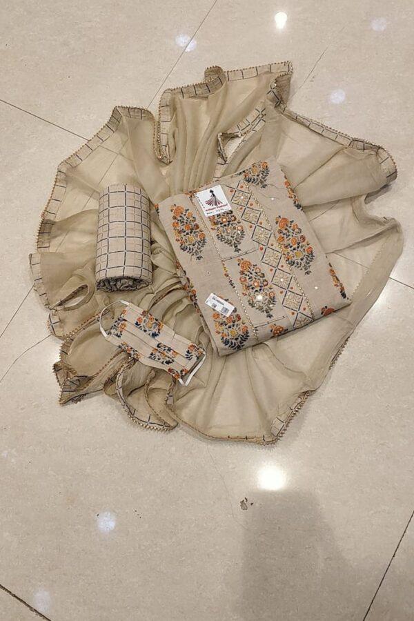 Cream color Cotton suit with Senton salwar and Chiffon Dupatta