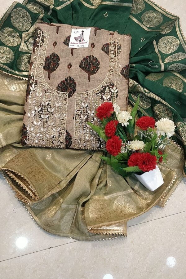 Grey Color Maslin suit with Banarasi Dupatta