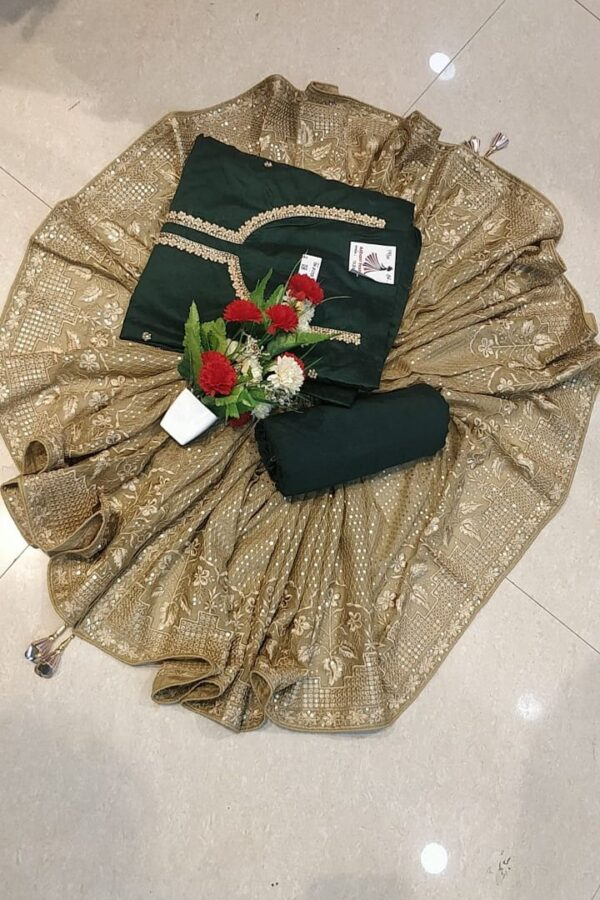 Designer Dark Green Color Chanderi Silk Suit Set