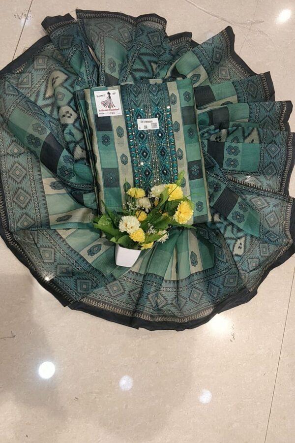 Designer Matalic Green Color Chanderi Silk Suit set