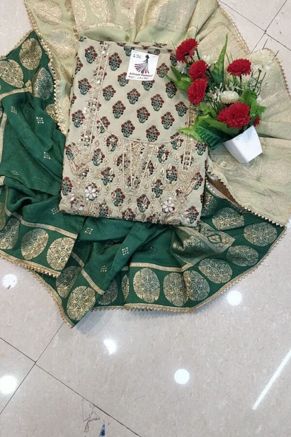 Designer Light Green Color Maslin Silk Suit set