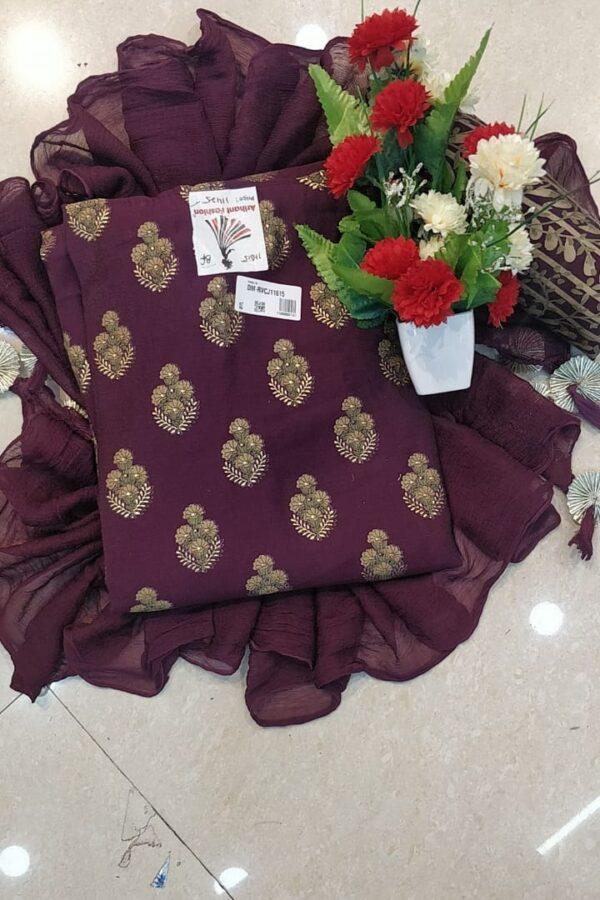 Designer purpal Color Chanderi Silk Suit with Chiffon Dupatta