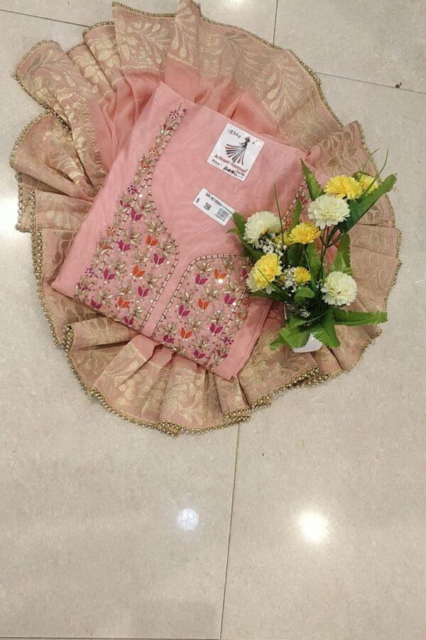 Designer Pink Color Chanderi silk Suit set