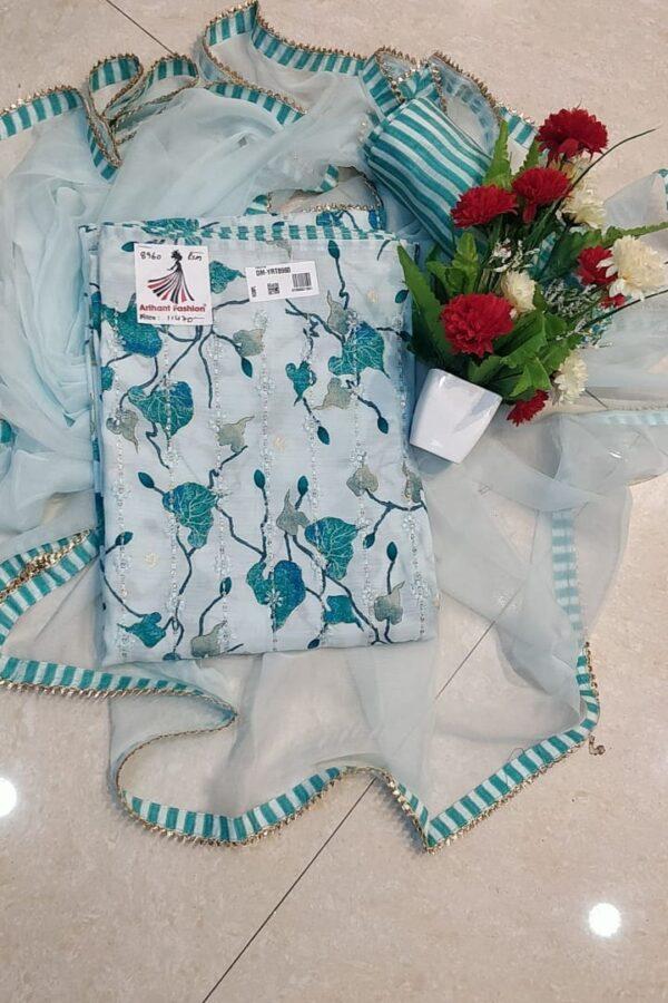 Designer Bottle-Blue Color Chanderi Silk Suit