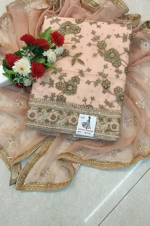Designer Skin Color Net suit with Dupatta