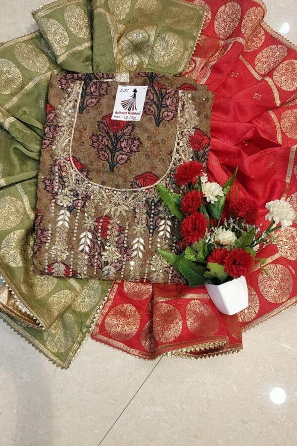 Designer Matalic Brown Color Maslin suit with Banarasi Dupatta