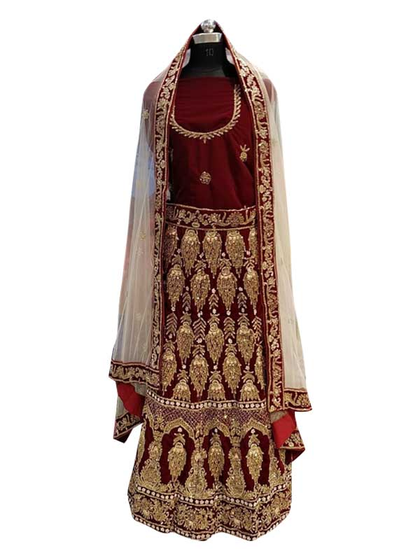 Bridal Maroon Handwork Embroidered Velvet Lehenga Choli