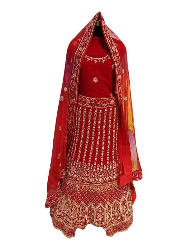 Velvet Red Colour Wedding Bridal Lehenga Choli