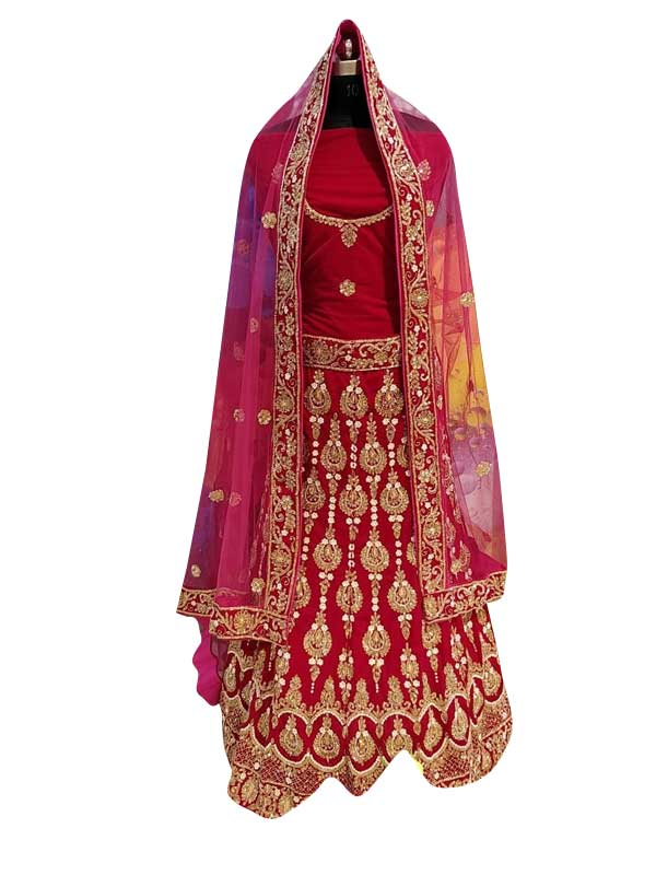 Pink Pure Velvet Bridal Lehenga Choli with Hand Work