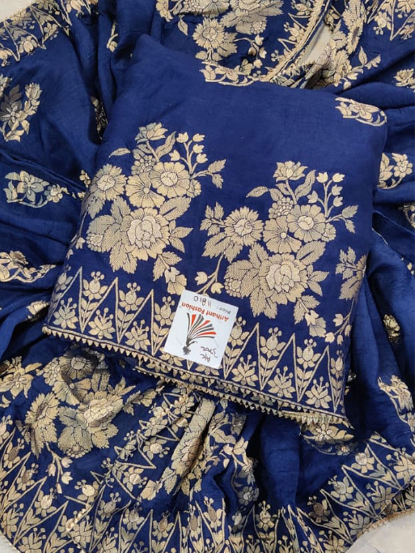 Beautiful Blue Color Dola Silk suit
