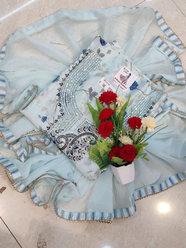 Designer Sky Blue Color Modal Silk Suit with Chiffon Dupatta