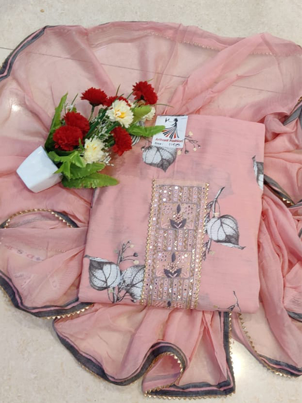 Baby Pink Color Silk Suit with Chiffon Dupatta - Online Arihant Fashion