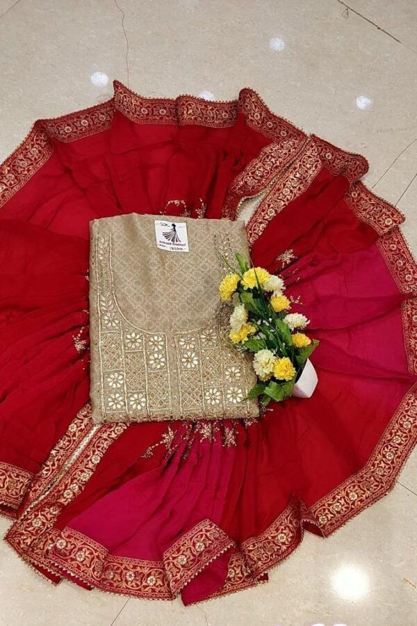 Designer Chikku Color Chanderi Silk Un-Stitched Suit with Banarasi Dupatta