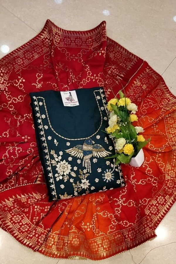 Blue Color Chanderi Silk Un-Stitched Suit with Banarasi Dupatta