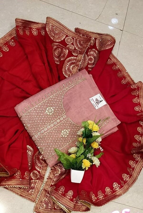 Baby Pink Color Chanderi Silk Suit with Senton salwar and Banarasi Dupatta