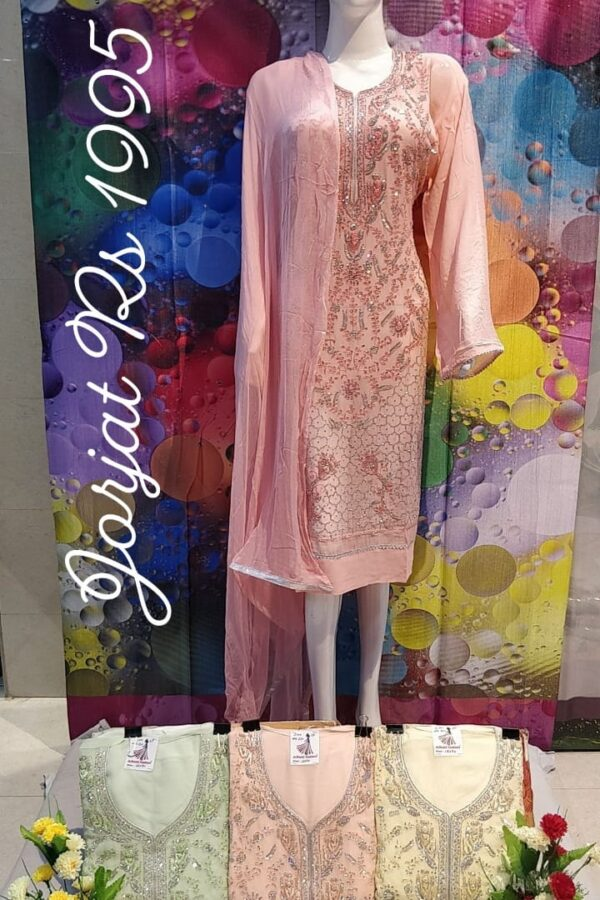Stylish Chinon Fabric with Thread Work Salwar Suit Material