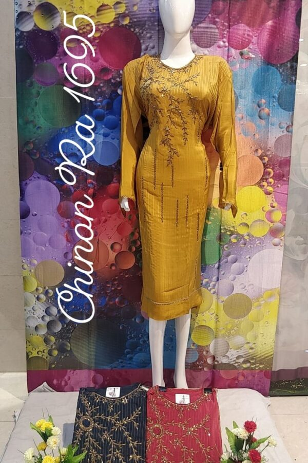 Designer Chinon Fabric with Thread Work Salwar Suit Material