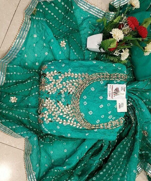 Dark Green Color Bhandej Silk Suit foe Women