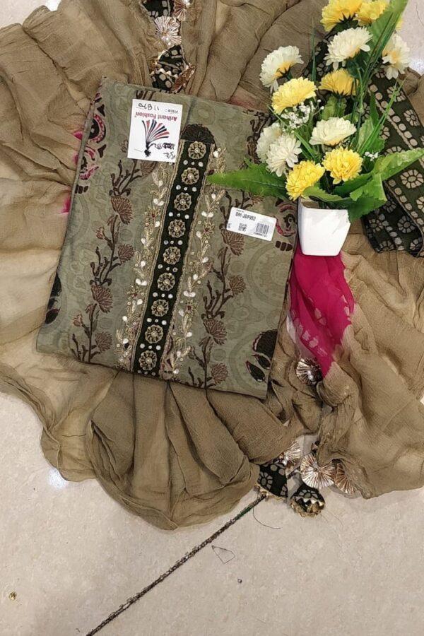 Chikku Color Silk Suit with chiffon Dupatta