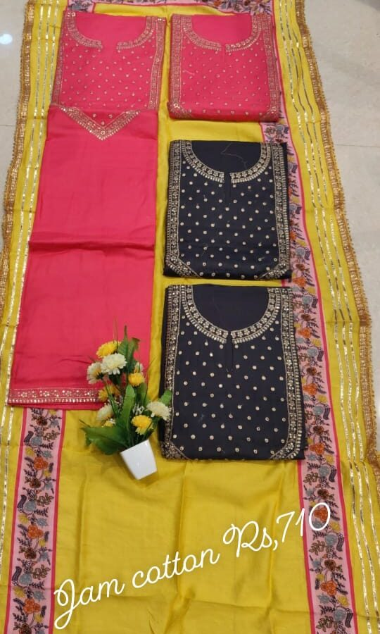 Jam Cotton Unstitched Suit with chinon Dupatta (4-set)